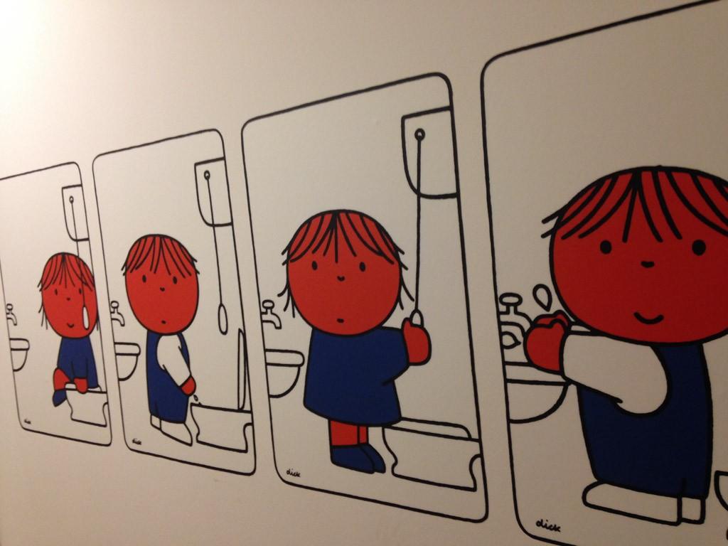 Ook bij het handen wassen zien we het thema terug.
