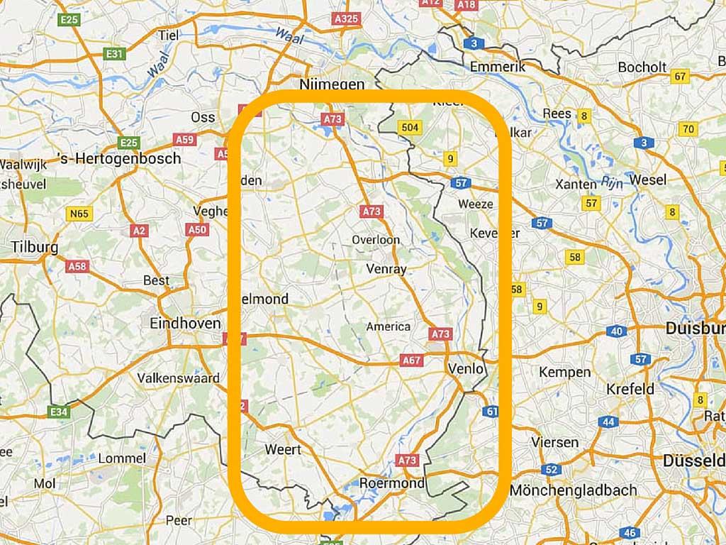 De globale ligging van Noord-Limburg.