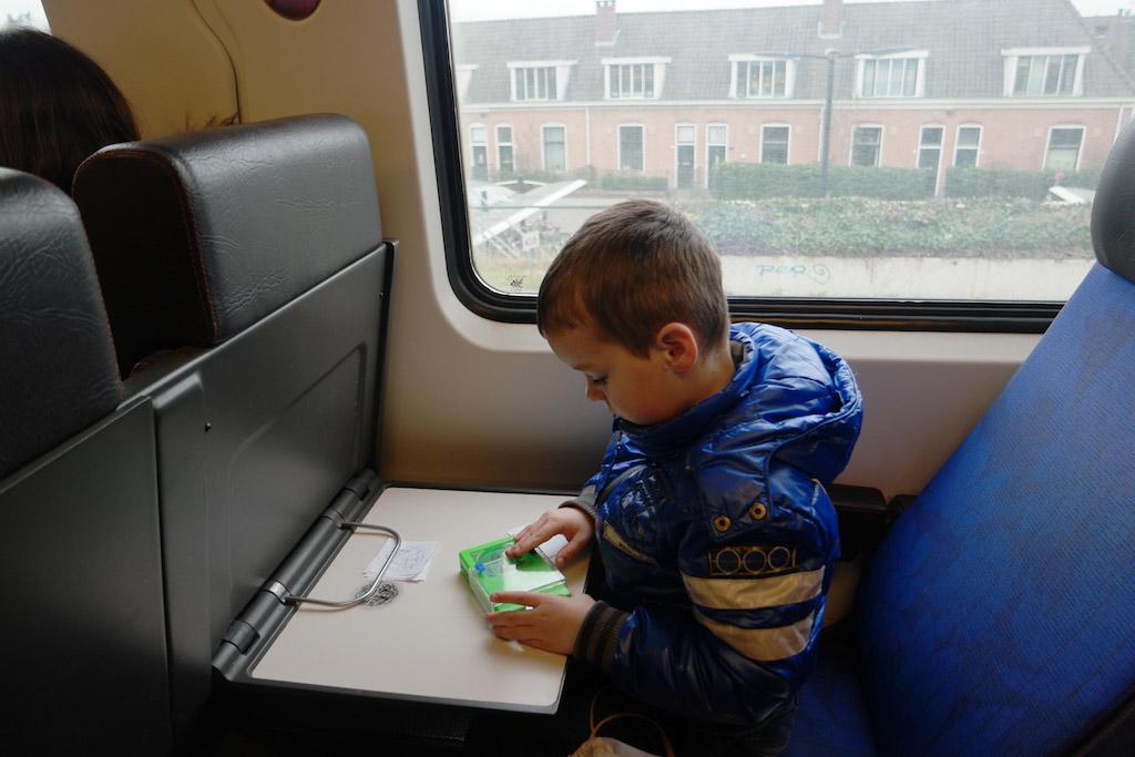 Tekenen in de trein.