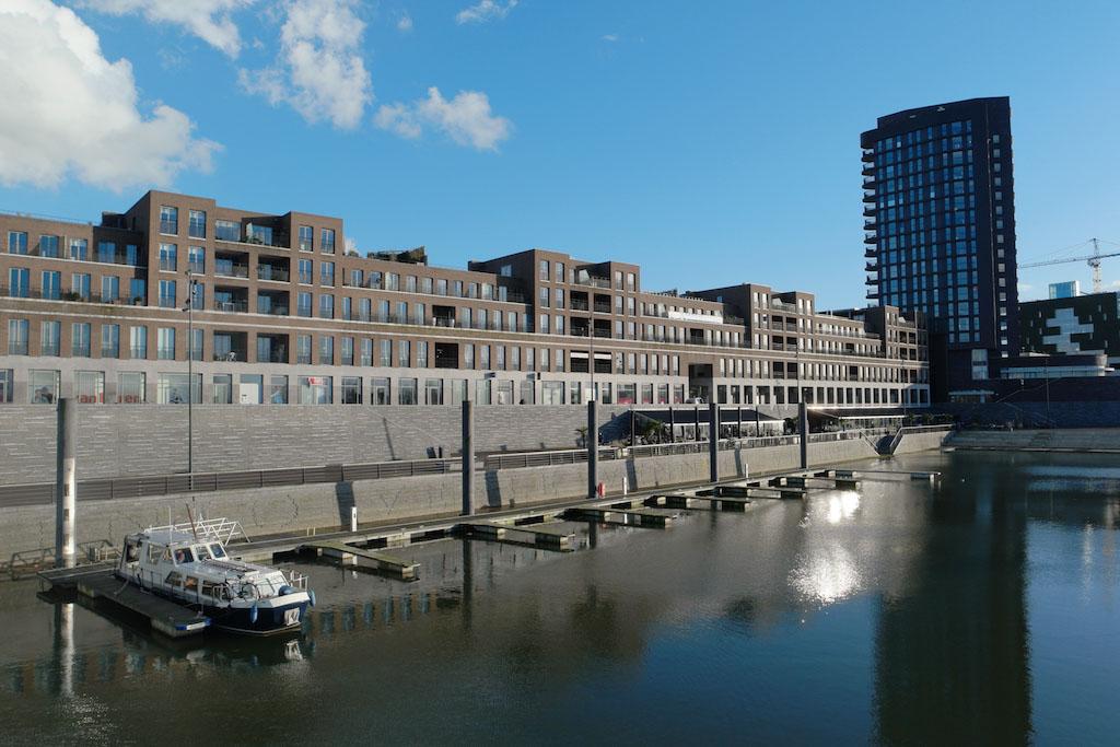 Het nieuwe gedeelte van het centrum van Venlo. De restaurants zie je rechts onderaan op de foto.
