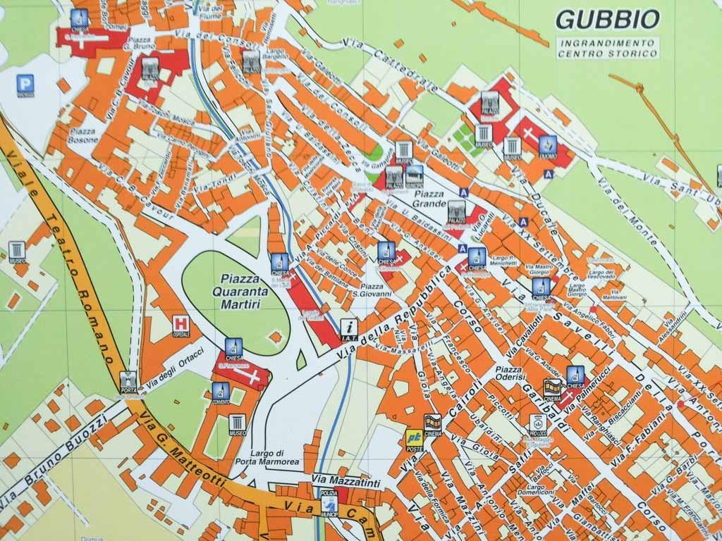 Plattegrond van Gubbio.