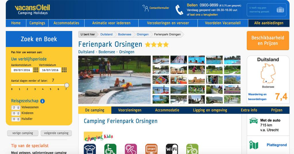 Ferienpark Orsingen, met nu via Vacansoleil een leuke last minute actie.