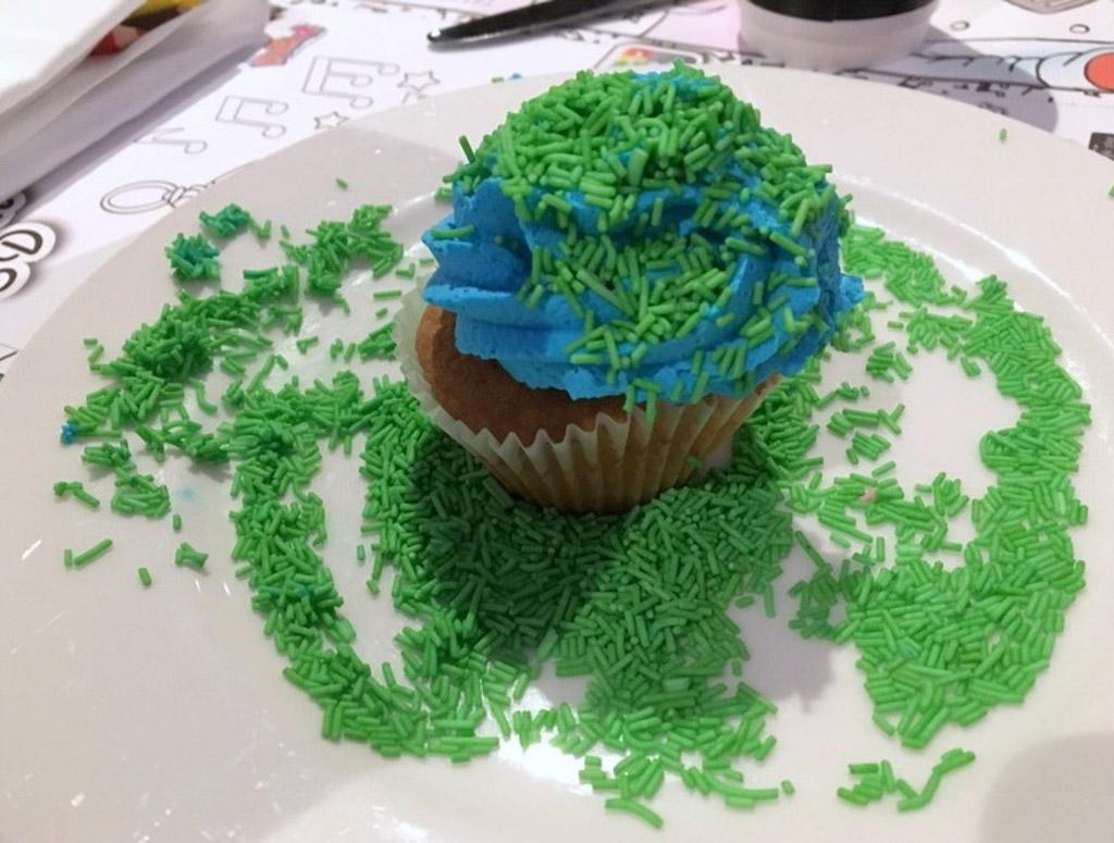 Cupcake met kleurstof....