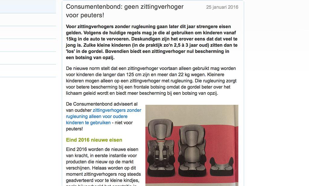 Consumentenbond over de nieuwe richtlijnen voor autostoeltjes (bron: consumentenbond.nl).