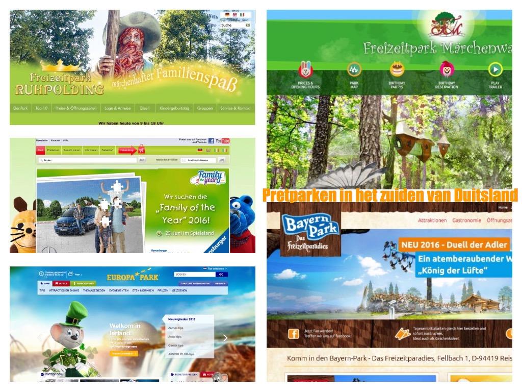 Pretparken in het zuiden van Duitsland (bron: homepage websites Freizeitpark, Bayern Park, Europapark, Ravensburger Spieleland, Maerchenwald Isartal).