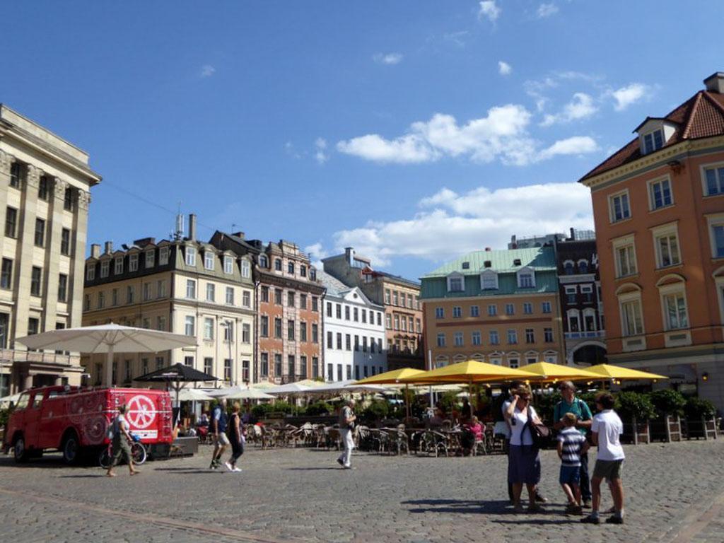 Gezellige pleinen in Riga.