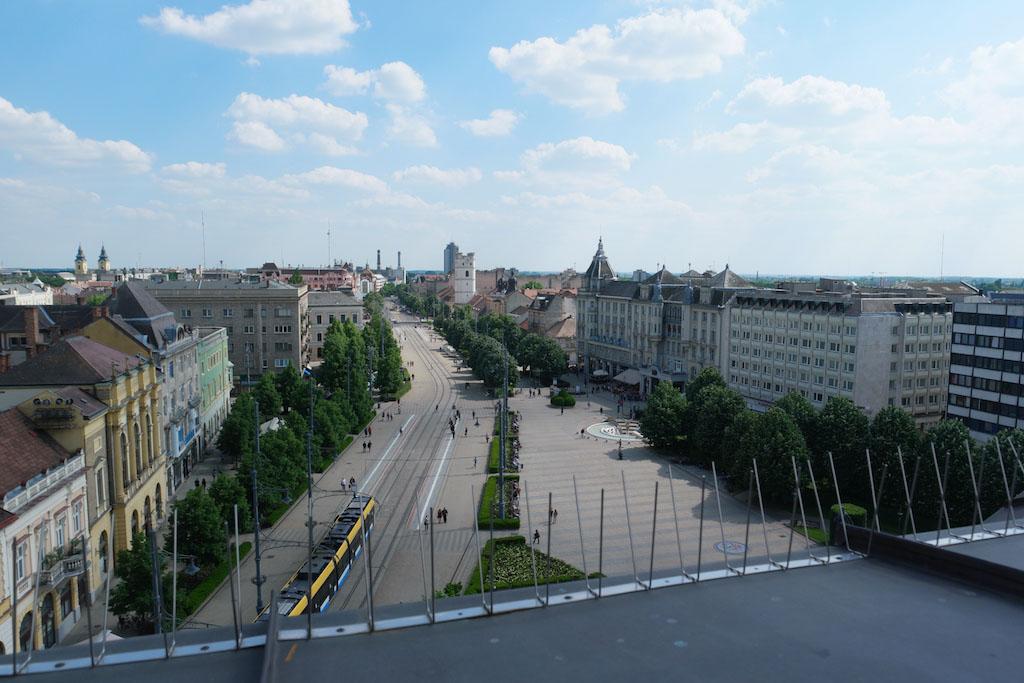 Uitzicht over Debrecen vanaf de Grote Kerk.