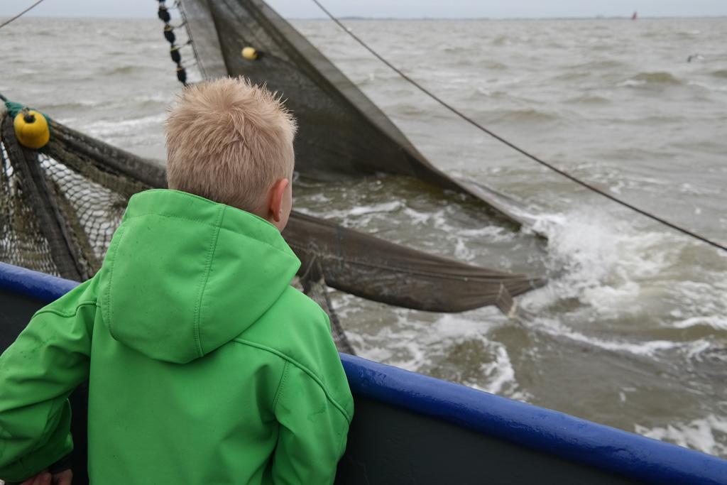 Uitkijken over zee tijdens het garnalen vissen bij Texel