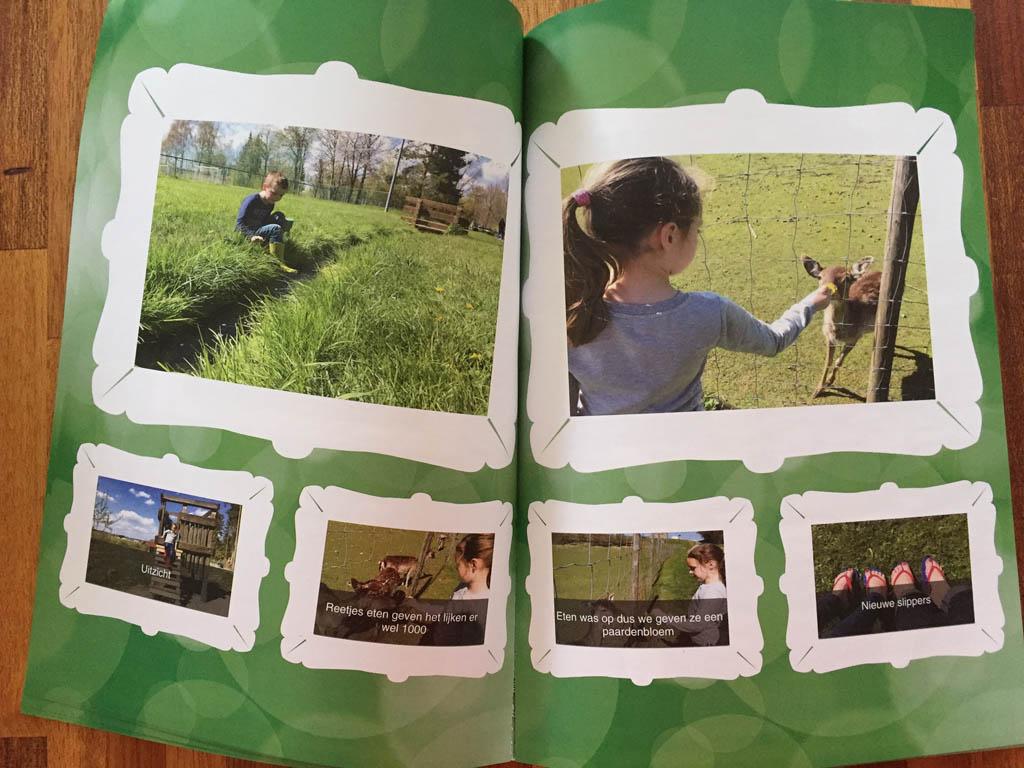 De pagina's hebben een verschillende indeling, afhankelijk van het aantal foto's dat je gebruikt.