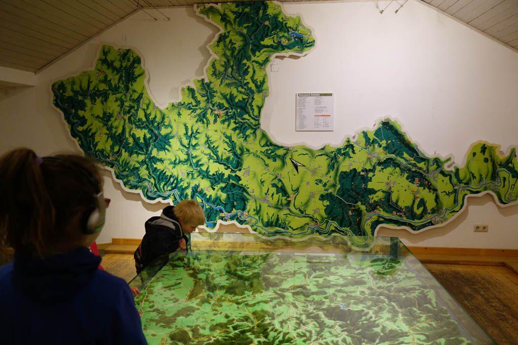 De maquette in het bezoekerscentrum.