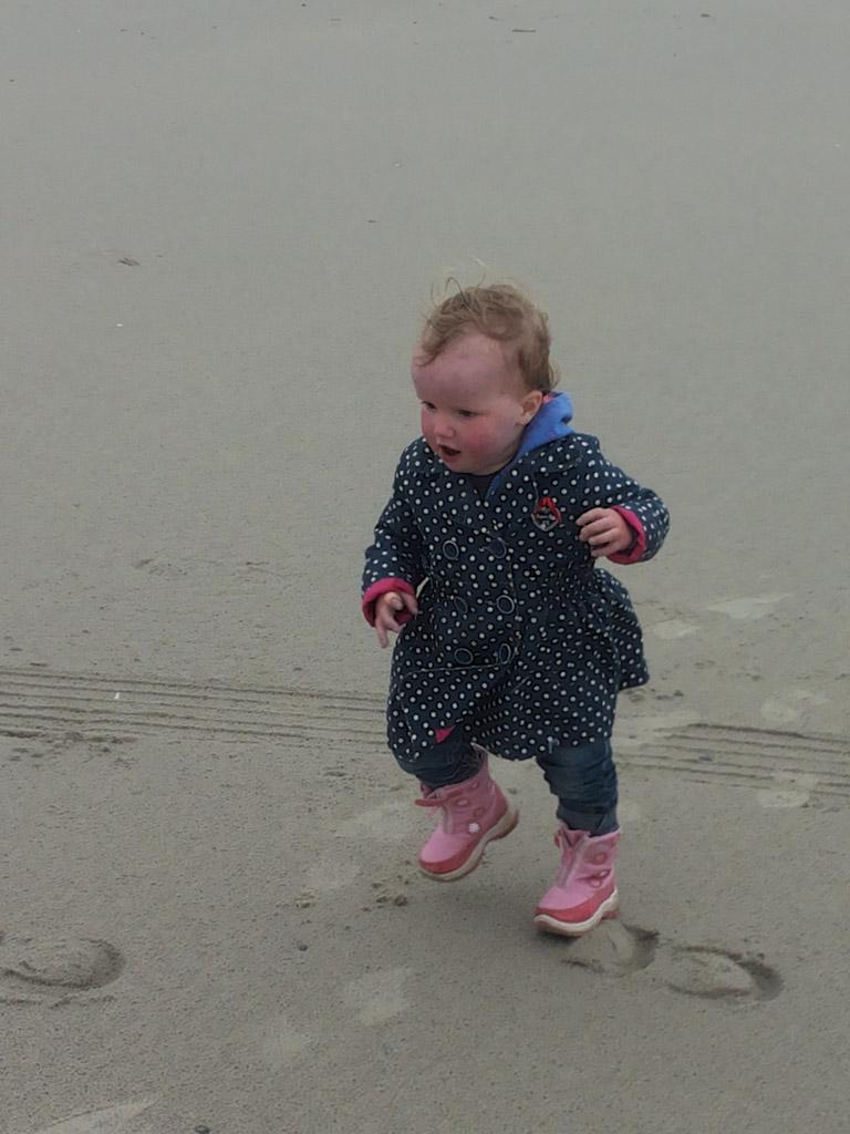 Rennen op het strand.