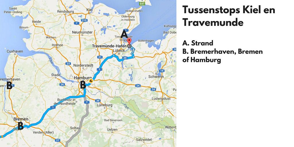 Tussenstops in Duitsland op weg naar Travemunde of Kiel.