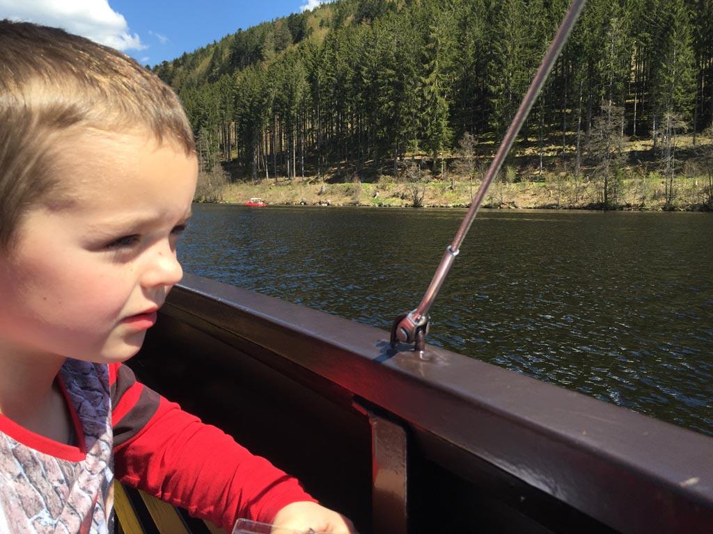 Er is genoeg te zien tijdens het varen op de Titisee met kinderen.