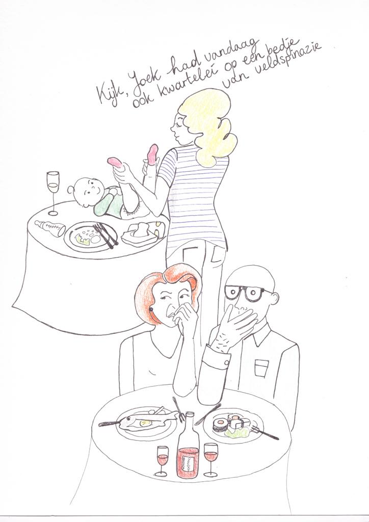 Hoe heurt het uit eten met kinderen-tekening 1