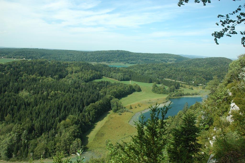 Groene omgeving met bossen en meren.