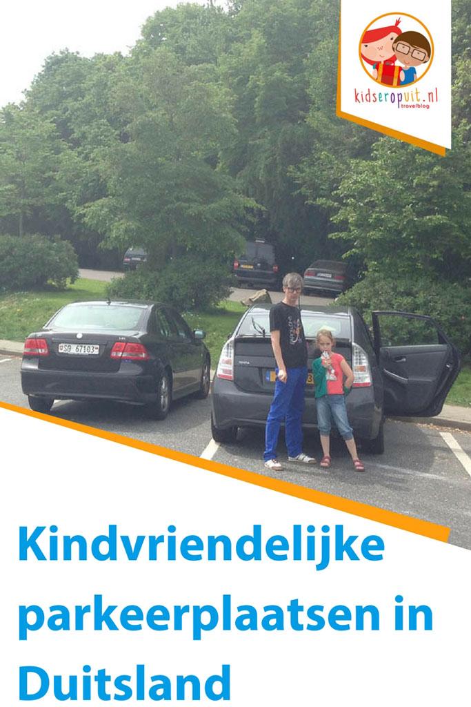 Kindvriendelijke parkeerplaatsen langs de Duitse autosnelweg.