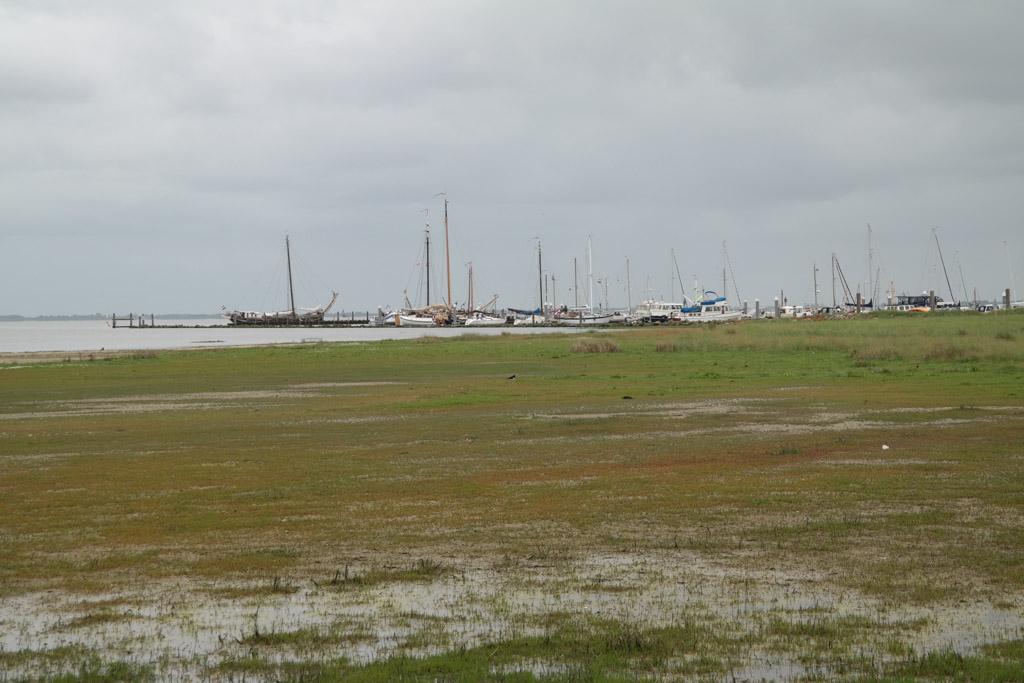 Uitzicht op de Waddenzee en de jachthaven.