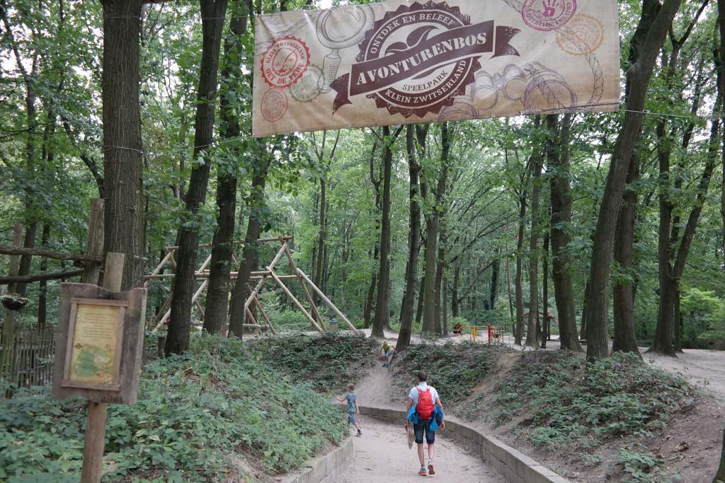 De ingang van het avonturenbos.