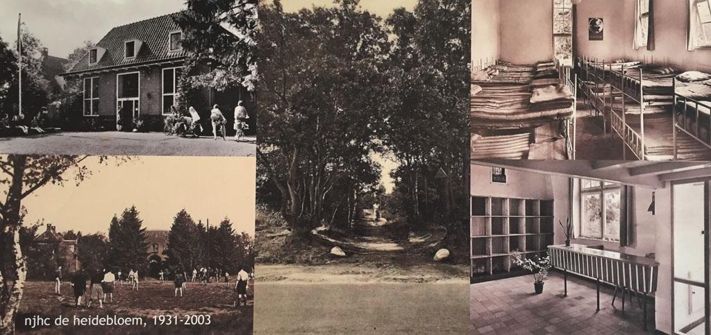 Aan de wand mooie foto's die laten zien hoe het hostel er vroeger uitzag.