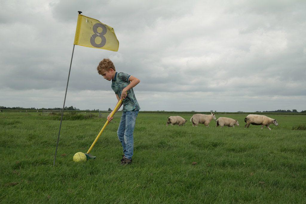 Klompengolf speel je tussen de schapen. Trek dus geschikt schoeisel aan.