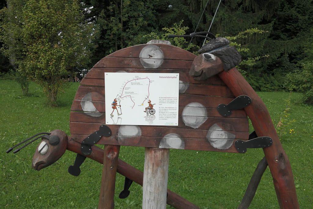 Aansprekende borden met houten figuren geven uitleg.