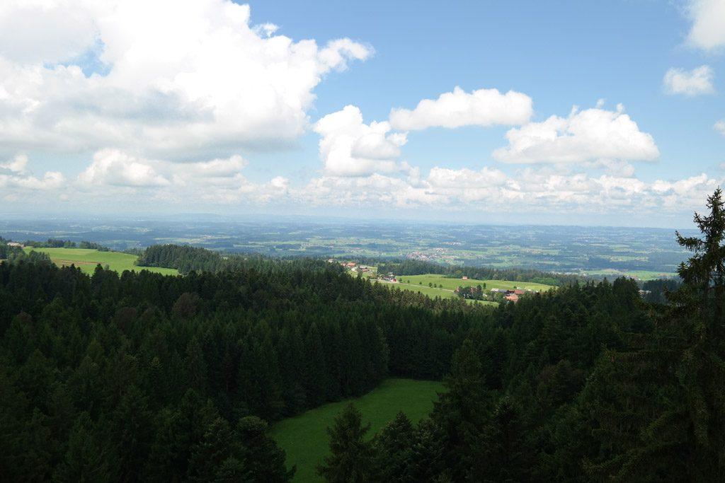 Prachtig uitzicht vanaf het boomkroonpad op de Bodensee en de bergen.