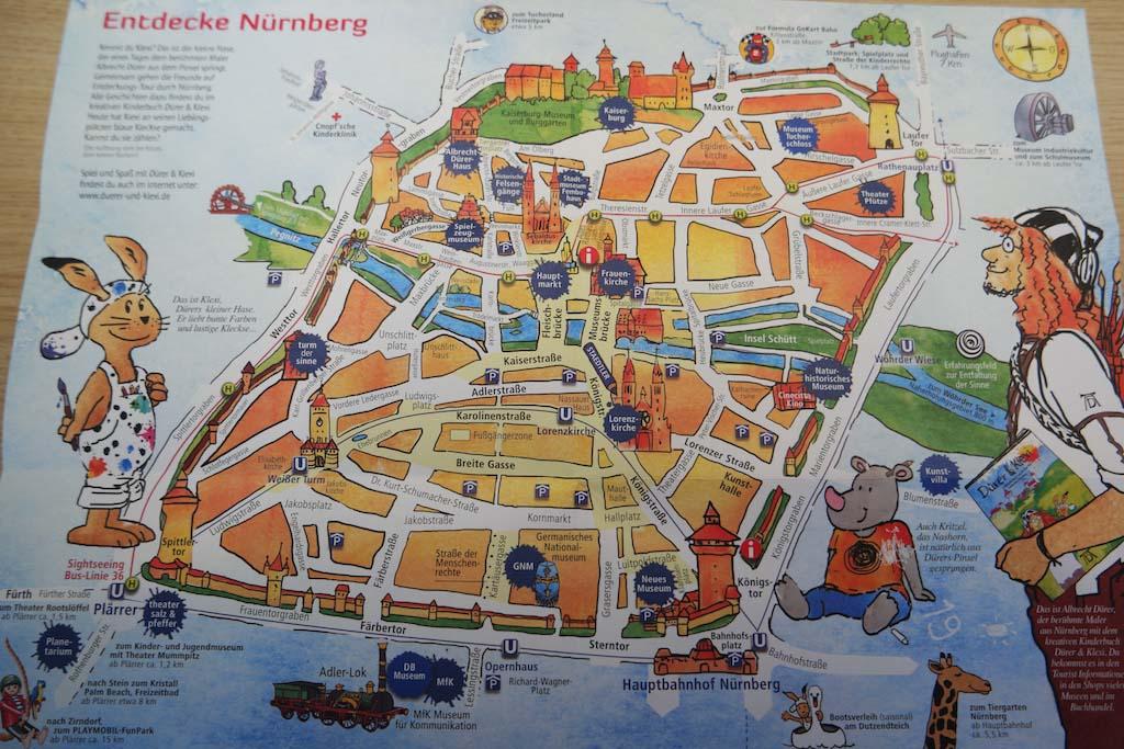 De kaart van het centrum van Neurenberg voor kinderen.