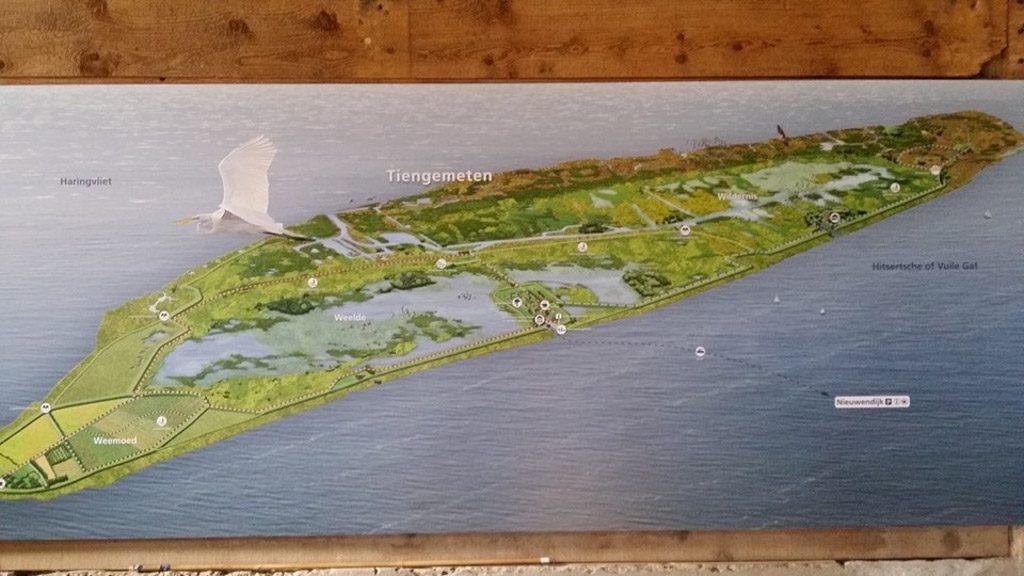 Een kaart van het eiland Tiengemeten.
