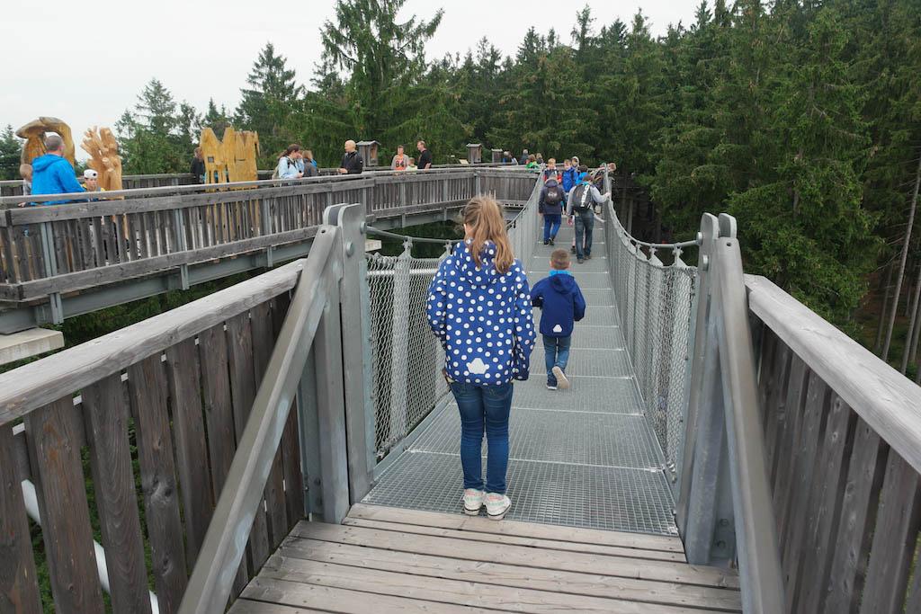 Een hangbrug waar je doorheen kan kijken... Niet voor mensen met hoogtevrees!