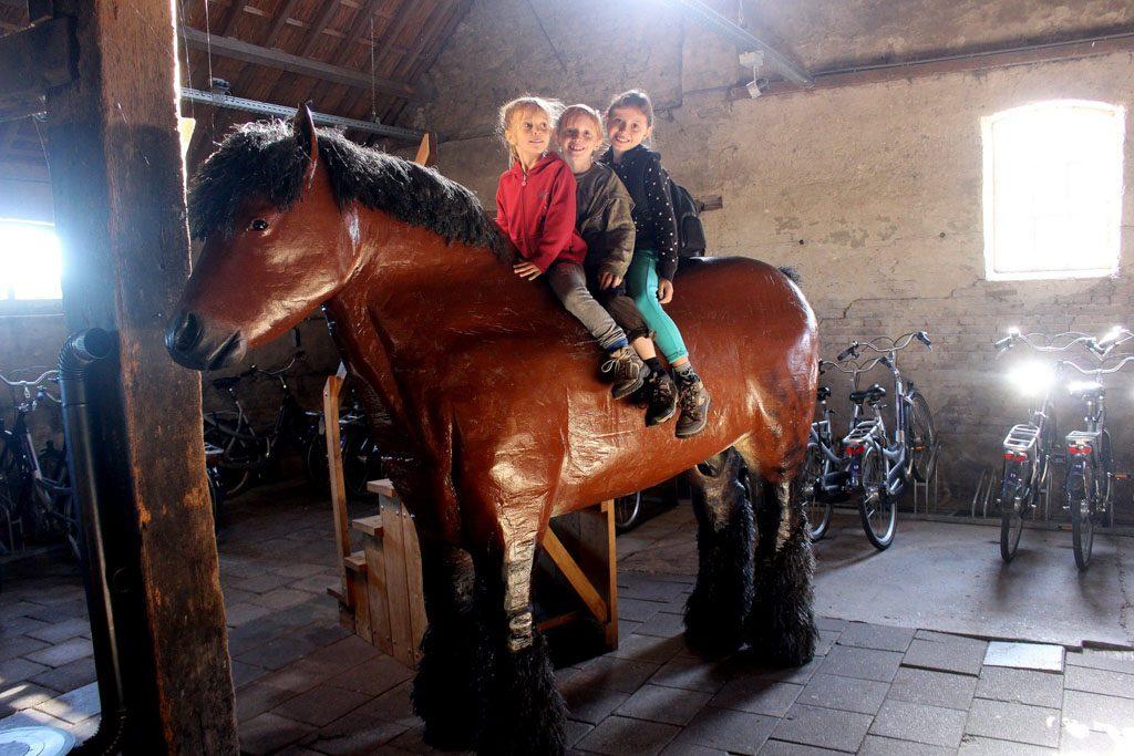 In het bezoekerscentrum beklimmen we een paard.