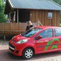 Met de Greenwheels auto naar onze bestemming voor dit weekend.