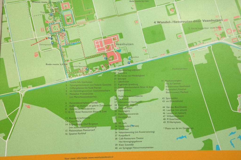 Kaartje van het gevangenismuseum in Veenhuizen en omgeving