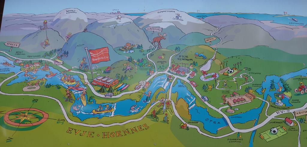 Op een plaat zien we de route die we af gaan leggen.