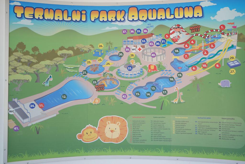 Aqualuna is het grootste aquapark in Slovenie.