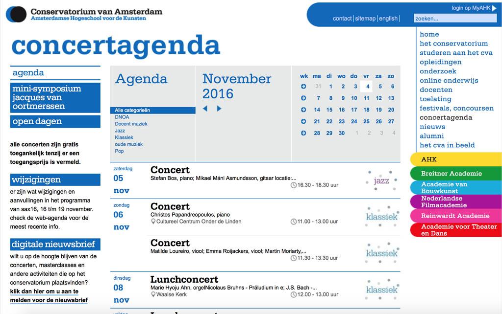 Elk conservatorium heeft een agenda met gratis te bezoeken concerten.