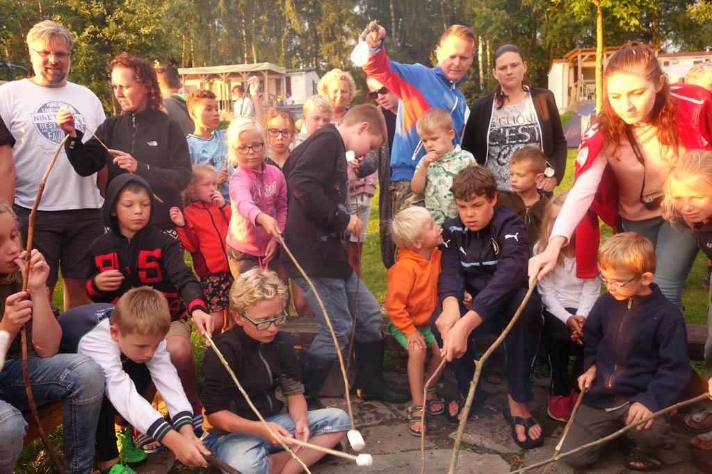 De kinderen roosteren marshmallows bij het kampvuur op camping Frymburk
