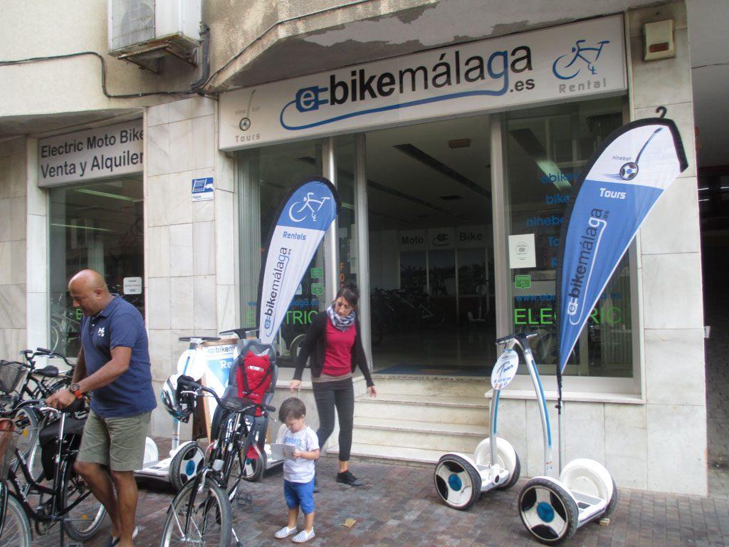 Het fietsverhuurbedrijf in Malaga.