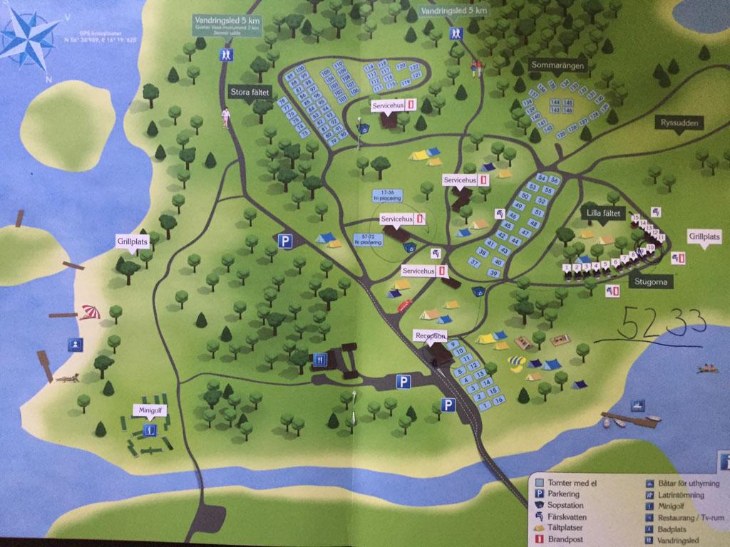 De kaart van Stensö Camping.