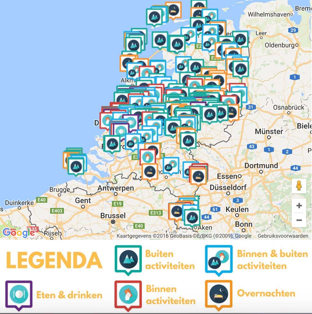 Hoe gaaf: alle blogs op kaart en direct zichtbaar wat je binnen of buiten kan doen, waar je kan overnachten en waar je kan eten.