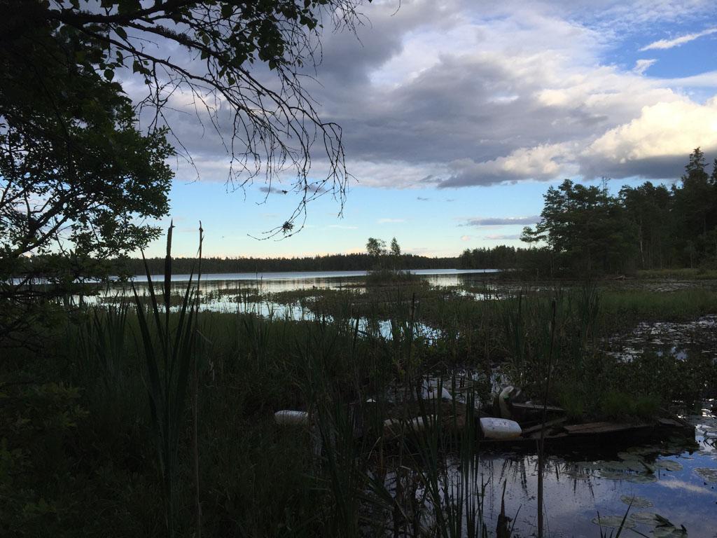 Het meer vlakbij het huis.