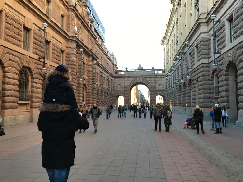 Slenterend door het centrum van Stockholm.
