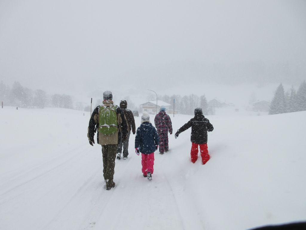 Ook als het flink sneeuwt is het leuk om te gaan wandelen