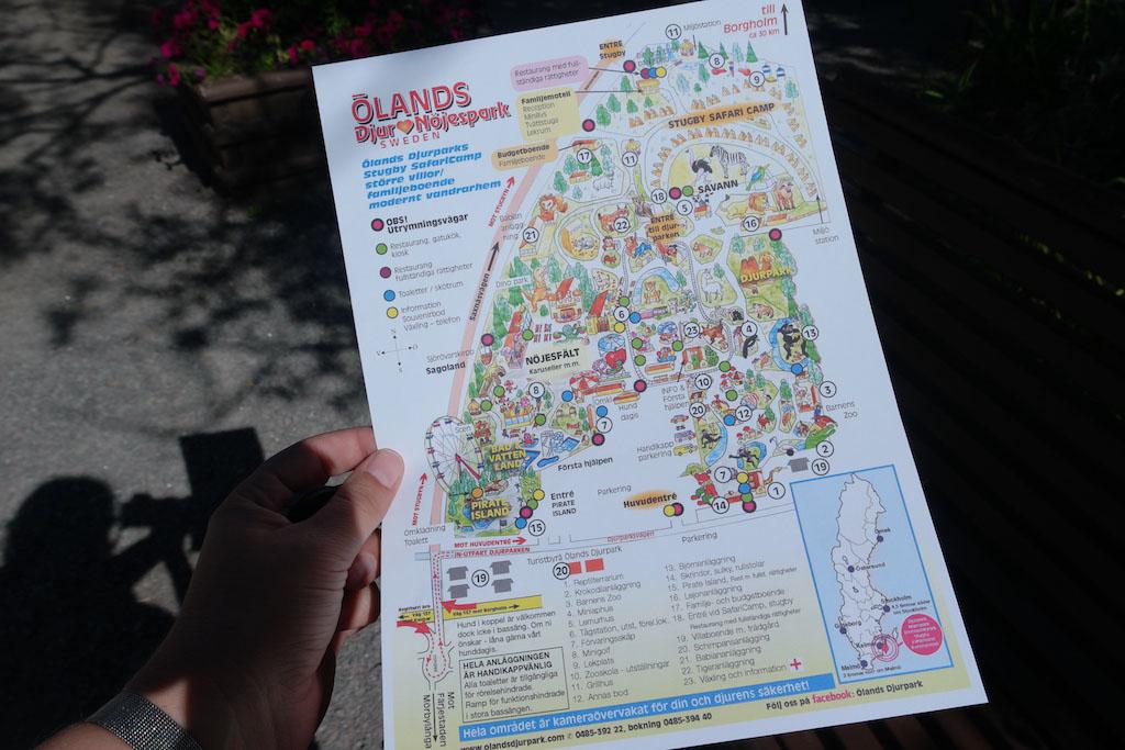 De kaart van Ölands Djur & Nöjespark.