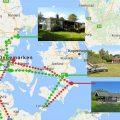 De routes van de rondreis Denemarken langs vakantiewoningen.