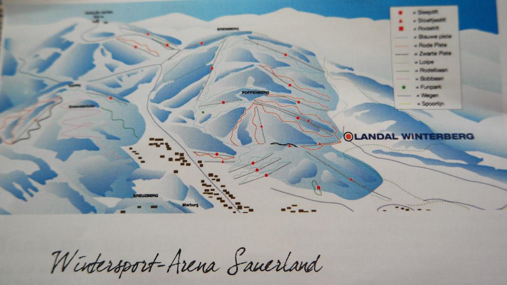De skiliften en -pistes vlakbij Landal Winterberg.