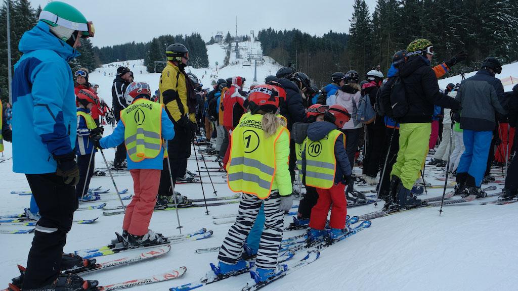In de rij voor de skilift.