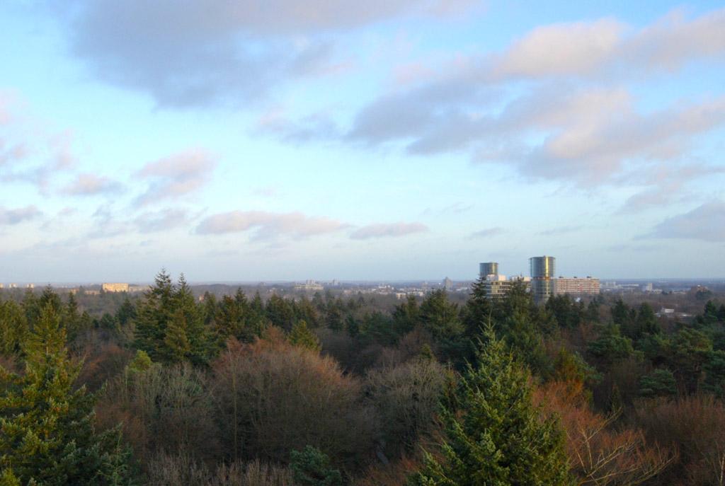 Aan de ene kant van de toren zie je Apeldoorn liggen. Aan de andere kant ligt de Veluwe.