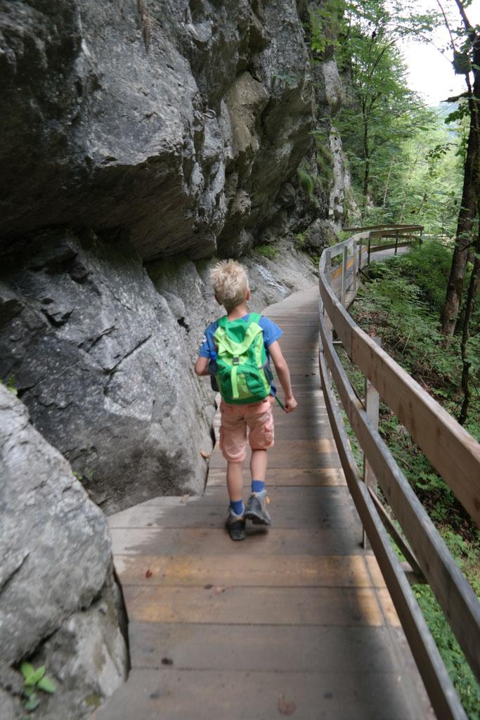 De wandeling voert over houten vlonders langs hoge rotswanden.