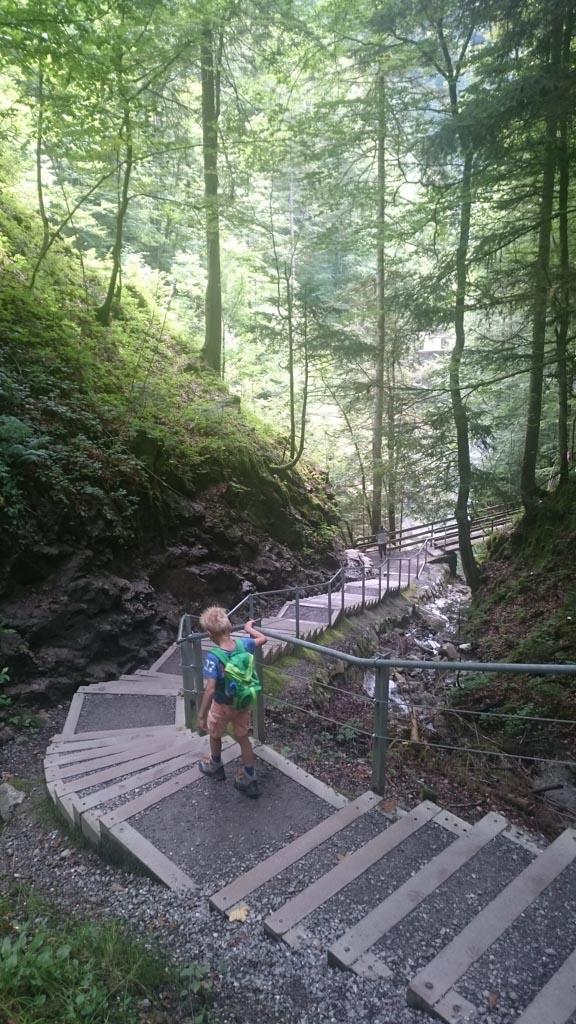 Door de vele trappen is de wandeling niet geschikt voor buggy's en wandelwagens.