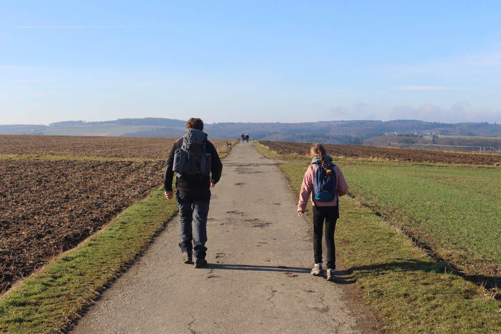 Door de weilanden op weg naar het begin- en hoogtepunt van onze wandeling: de Geierlay.